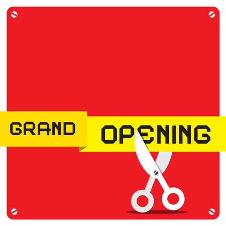 square tape: Grand Opening. Vector Red Square with Rounded Corners and Scissors Cutting Yellow Tape. Illustration