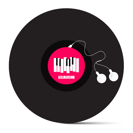 piano roll: Vinyl LP Record with Headphones and Piano Keyboard. Abstract Vector Object Isolated on White Background. Illustration