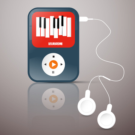 keyboard player: MP3 Player. Abstact Vector Music Player with Headphones. Music Player Illustration with Abstract Keyboard Symbol on Screen.