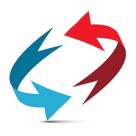 矢印のイラスト。赤と青の二重矢印ベクトル 3 D 無限大記号