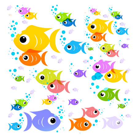 flock: Fish Cartoon. Vector Colorful Fish. Flat Design Transparent Flock of Fish Isolated on White Background.