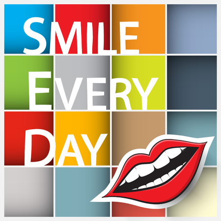 every day: Smile Every Day Slogan. Colorful Vector Squares with Paper Cut Mouth and Smile Every Day Title.