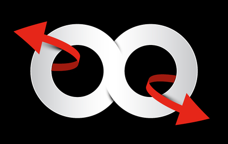 Infinity Symbol. Vector Eight - Endless Paper Sign with Red Arrows on Black Background.