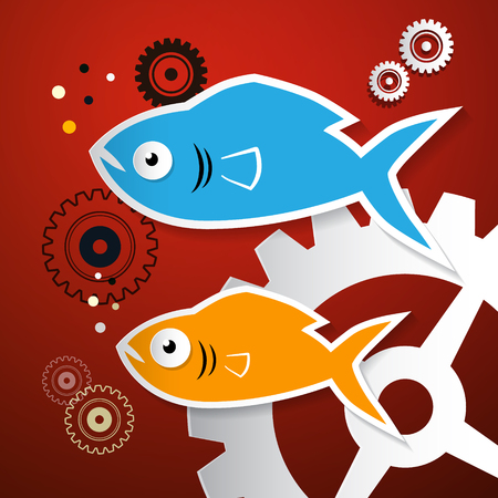 rust red: Fish and Cogs - Gears Illustration