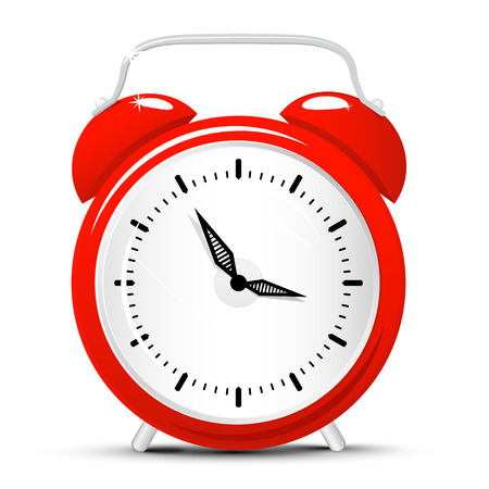 Vector Red Alarm Clock Isolated on White Background. Clock Cartoon. Illustration