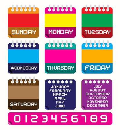 Kalender ein. Vector Retro Bunte Papier-Kalender-Vorlage, Layout mit Wochentage - Monate und Zahlen. Perfekt für Original-Design Projekte. Vektorgrafik