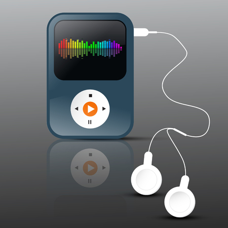 frequency: MP3 Player. Abstract Vector mp3 Player with Headphones and Frequency Graph on Display.