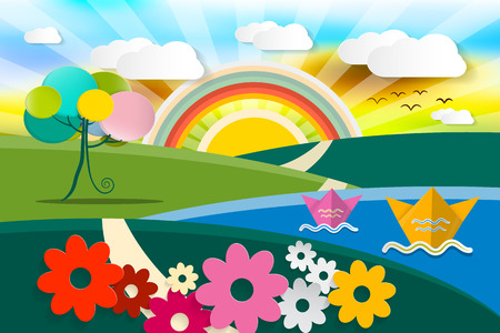 spring summer: Abstract Landscape Illustration. Vector Spring - Summer - Autumn Fairy Tale Nature Scene. Cartoon with Flowers, Paper Boats, Tree and Sun with Rainbow.