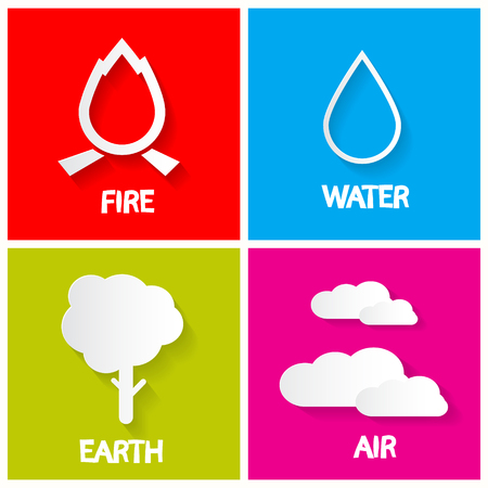 the four elements: Four Elements Icons Set. Fire - Water - Earth and Air Illustration. Illustration