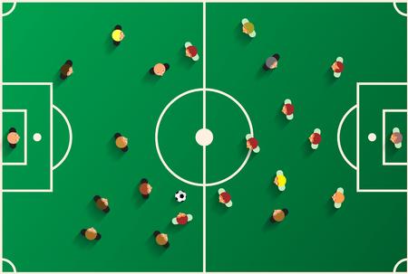 soccer stadium: Football Top View Playground with Players. Soccer Stadium Vector Illustration. Illustration