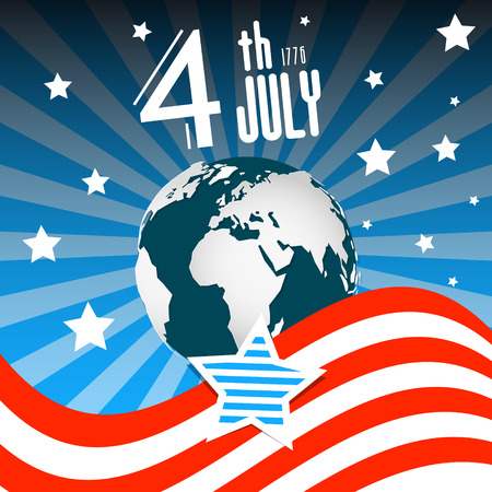 th: 4 th July. Independence Day. American Flag with Earth - Globe on Night Sky Retro Illustration. Illustration