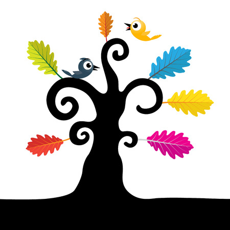 Abstract Vector Tree. Tree with Curled Branches and Colorful Leaves. Black Tree Illustration on White Background.