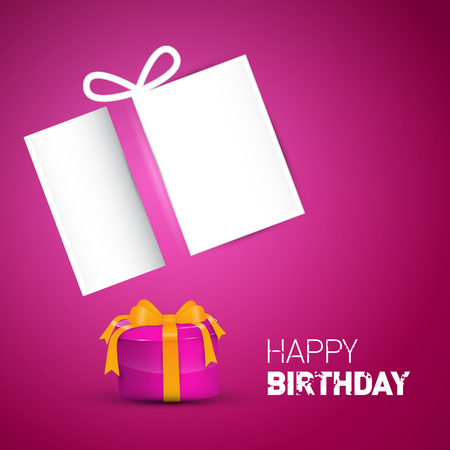 Happy Birthday Card Pink Vector Birthday Background With Gift