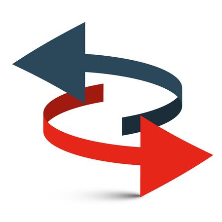 Conjunto de flechas. Flechas dobles. Aislado en el fondo blanco. Vector Logo Symbol - 3D Double Arrow.