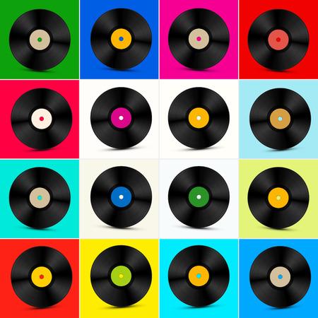 lp: Vinyl Set. Retro Colorful LP Disc. Vinyl Record Illustration.