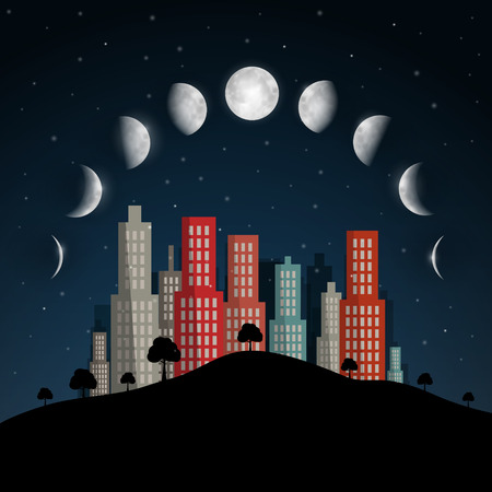 moon phases: Moon Phases Vector Illustration. Night Abstract City.