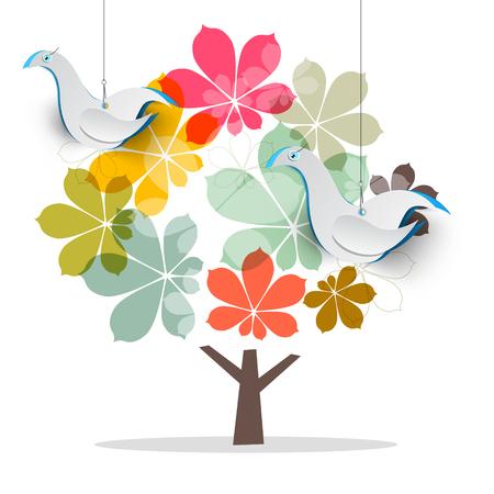 Albero con colomba uccelli. Abstract Vector Castagno con carta tagliata uccelli. Vettoriali