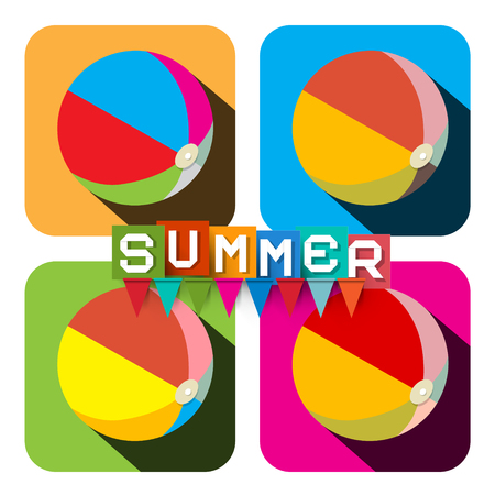 inflatable ball: Beach Ball Set. Vector Flat Design Colorful Inflatable Balls - Summer Symbol with Flags. Illustration