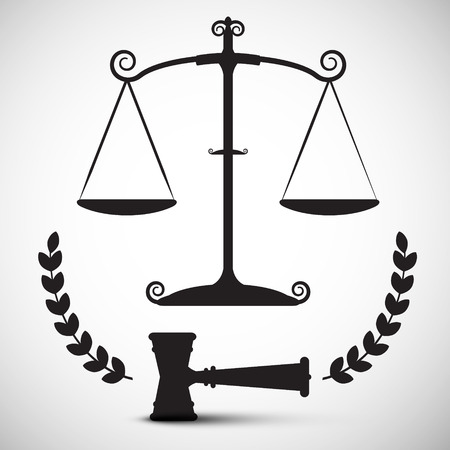 justice scales: Justice Scales Symbol. Vector Law Hammer - Gavel Pictogram.