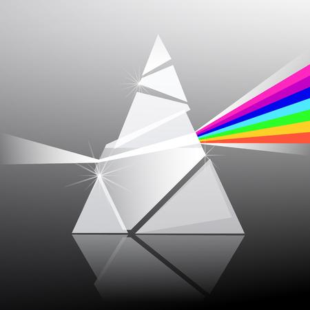 prisma: Ilustración del vector del prisma. La forma del triángulo de cristal transparente con efecto arco iris de colores.