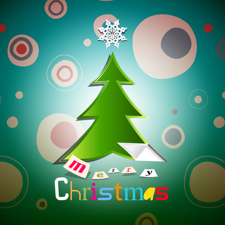 cold cuts: Christmas Card. Xmas  Tree. Illustration