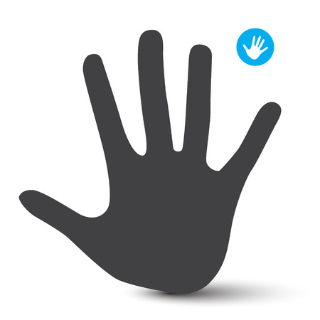 palm of hand: Hand Icon. Palm Hand Vector Symbol Isolated on White Background. Illustration