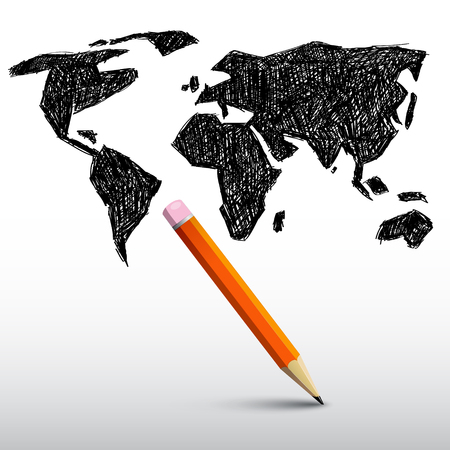 map pencil: World Map with Pencil Illustration