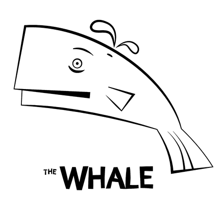 outline fish: Whale - Outline Fish Isolated on White Background Illustration