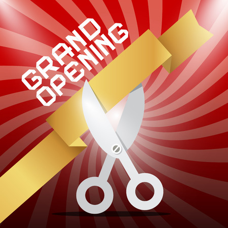 silver ribbon: Grand Opening. Silver Scissors Cutting Gold Ribbon . Illustration