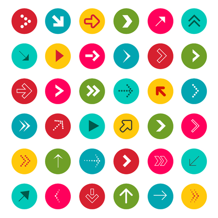 Arrow Signs. Vector Arrows in Colorful Circles Vector. Illustration