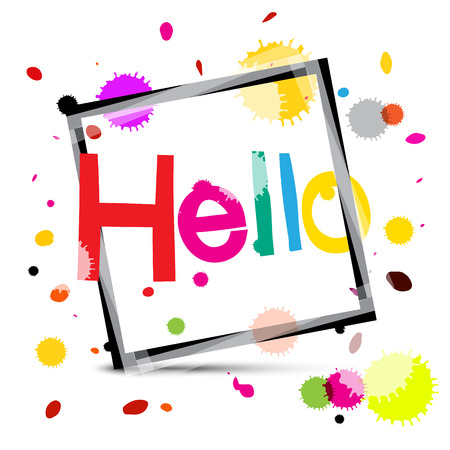Hello. Colorful Hello Title with Colorful Splashes. Funky Lettering.