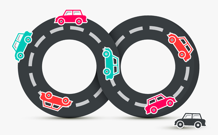 Cars on Endless Road. Vector Transportation Logo.
