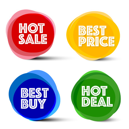 best buy: Labels. Vector Red, Blue, Orange and Green Business Icons. Hot Sale, Best Price, Best Buy and Hot Deal Tags.
