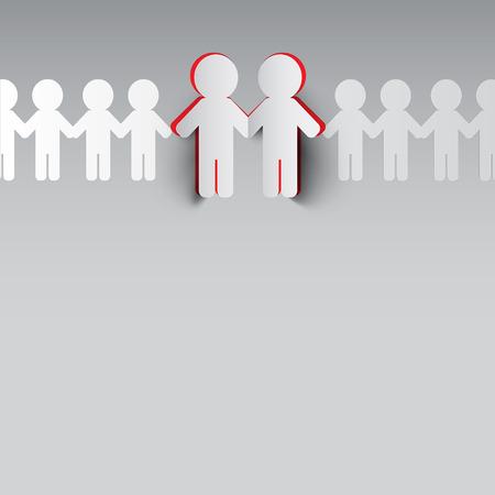 Paper Cut People. Vector Men Symbols Holding Hands.