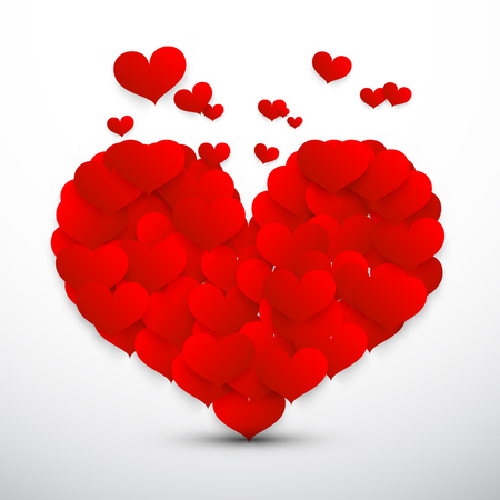 man made: Big Red Heart Made from Small Flying Vector Hearts Isolated on Grey Background