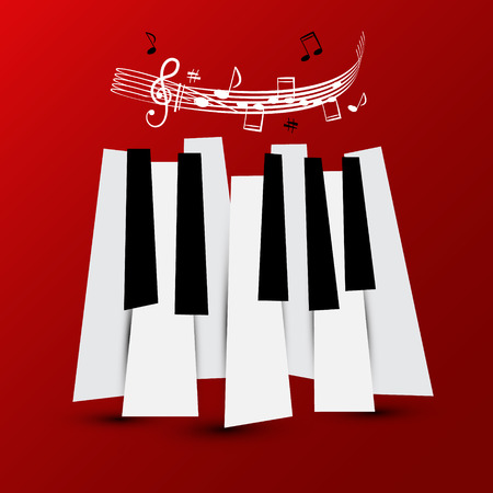 Music Symbol. Vector Piano Keys with Staff and Notes. Keyboard on Red Background.