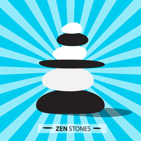 zen stones: Zen Stones on Retro Blue Background Vector Illustration Illustration
