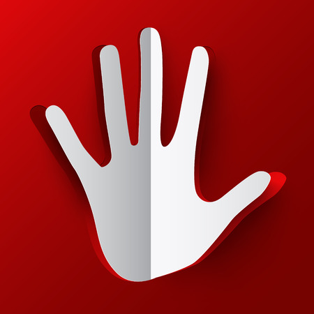 hand paper: Hand. Paper Paper Cut Palm Hand on Red Background.