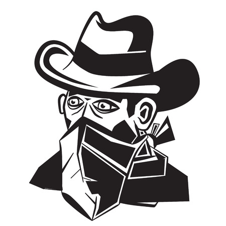 Cowboy with Scarf Over Mouth Cartoon. Vector Illustration.