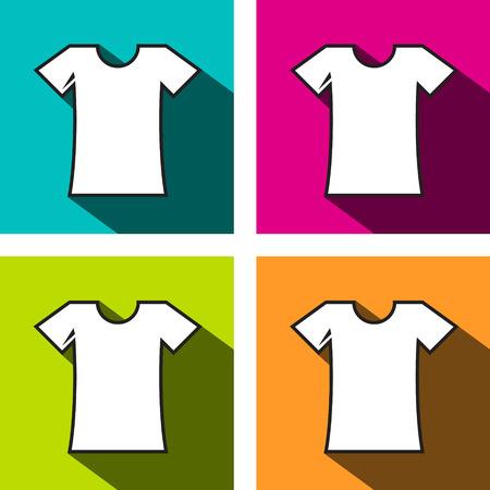 T-Shirt Icon. Shirts Icons on on Colorful Background. Flat Design Symbols. Illustration