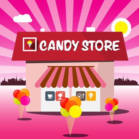 candy store: Candy Store Vector Pink Cartoon. Shop with Ice Creams and Abstract City on Background.