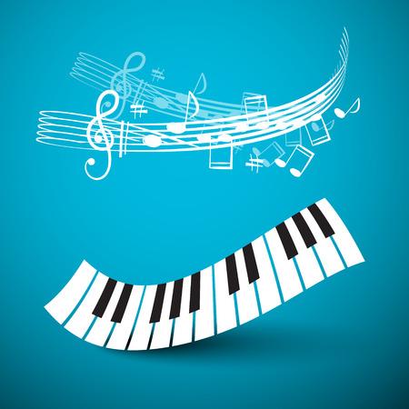 피아노 키보드. 파란색 배경에 노트와 직원 추상 키 웨이브. 녹음 스튜디오 벡터 로고.