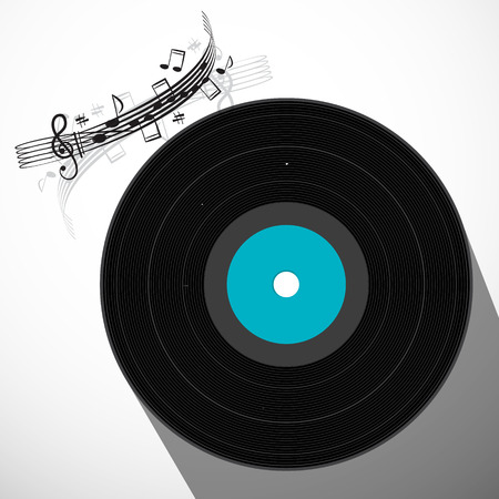 lp: LP Vinyl Record Flat Design Long Shadow Symbol with Staff and Notes