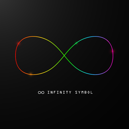 Infinity Symbol. Vector Endless Sign. Colorful 8 Icon on Black Background in Rainbow Colors.