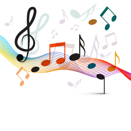 Music Notes and Staff. Colorful Wave Musical Abstract Background.