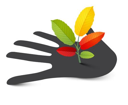 Plant on Human Hand. Vector Illustration. Illustration