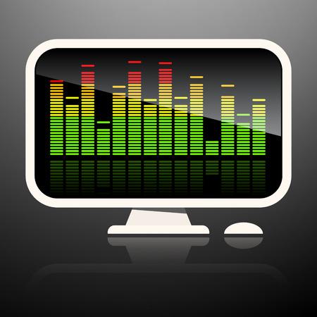 equaliser: Music Equaliser on Computer Screen Illustration