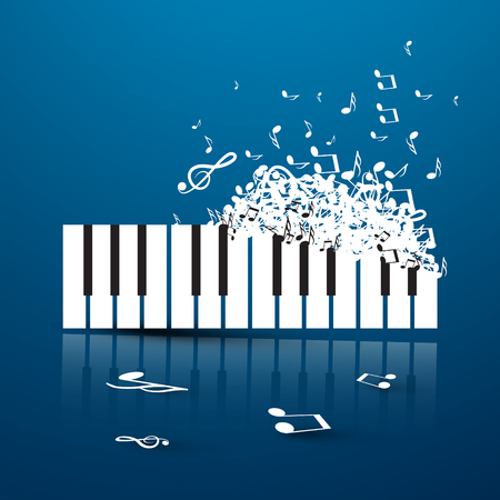 Keyboard. Abstract Vector Music Illustration. Instrument Made from Notes on Blue Background.
