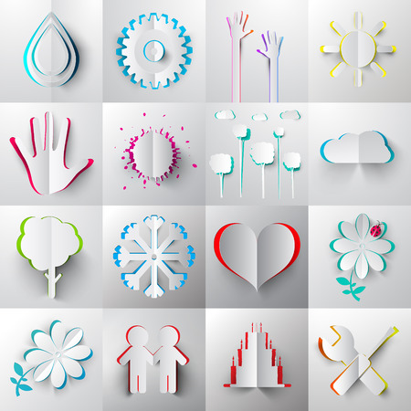 Paper Cut Vector Icons - Symbols. Illustration