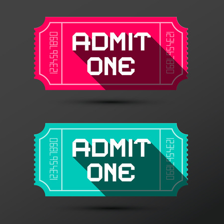 admit: Admit One Ticket. Vector Retro Pink and Blue Tickets Set. Illustration